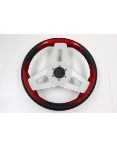 UFLEX Loredan Steering wheel |Silver Center Red/Black Grip - Discount Inboard Marine